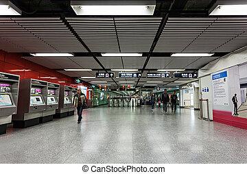 Hong Kong subway - HONG KONG - FEBRUARY 22: Subway station...
