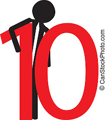 man holding the number ten