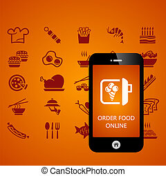 Food mobile phone applications vector illustration