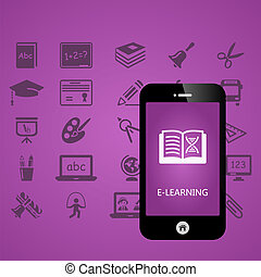 E-learning mobile phone applications vector illustration