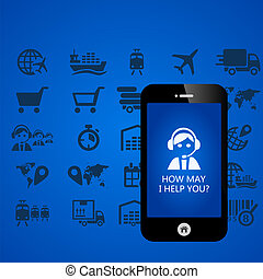 Logistic mobile phone applications vector illustration