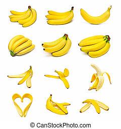 Ripe bananas set isolated on white background