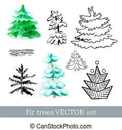 Fir trees vector set