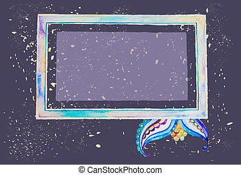 Watercolour frame on grunge background