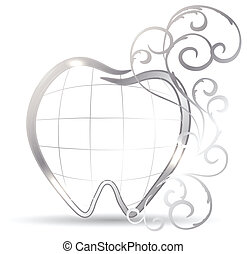 Tooth - Beautiful tooth illustration. Silver tooth and...