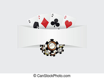 casino poker - illustration,of blank space with aces cards...