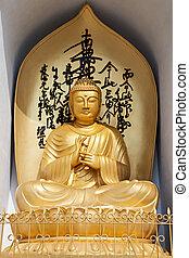 Buddha statue - POKHARA, NEPAL - MAY 12: Buddha statue at...