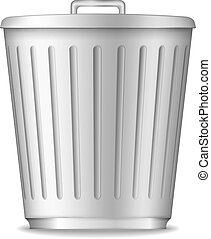Trash Can - Trash can on white background, vector eps10...
