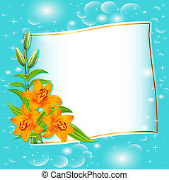 background with blue flowers and patches of light