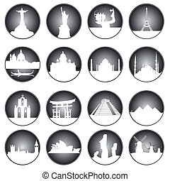 gray buttons of famous places in the world on a white...