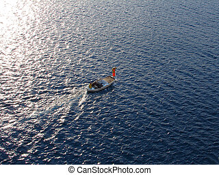 Fisherman\\\'s  on small boat on Mediterranean