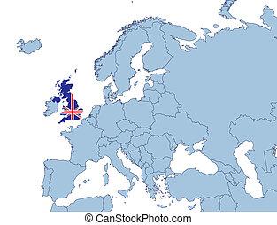 UK on Europe map