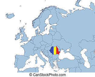 Romania on Europe map illustration