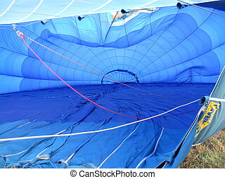 Inflation underway! - Hot air balloon in the process of...