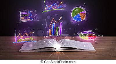 Book on wooden deck with glowing graph illustrations and...