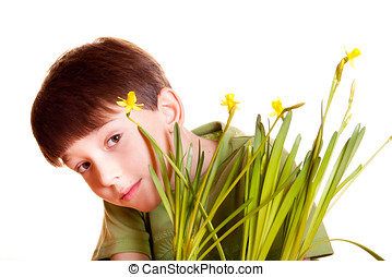 boy with spring flowers