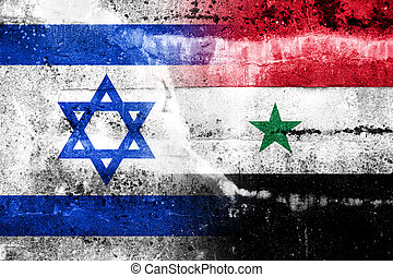 Israel and Syria Flag painted on grunge wall