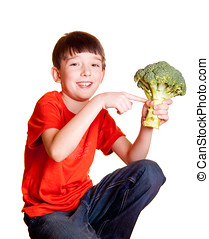 boy with broccoli