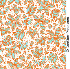 Lined floral seamless pattern