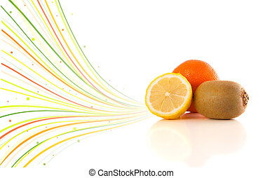 Healthy tropical fruits with colorful abstract lines on...