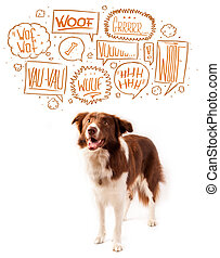 Cute dog with barking bubbles - Cute brown and white border...