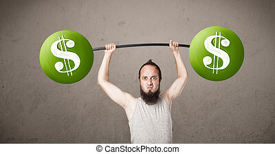 skinny guy lifting green dollar sign weights - Funny skinny...