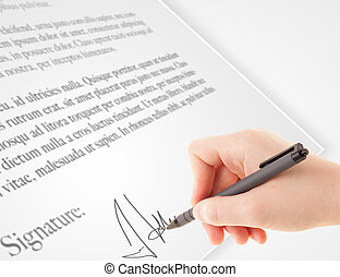 Hand writing personal signature on a paper form - Hand...