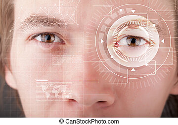 Cyber man with technolgy eye looking - Modern cyber man with...