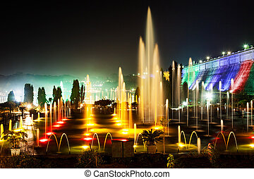 Color fountains - Very beautiful fountains in Brindavan...