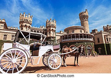 King Palace - White carriot near the Bangalore King Palace
