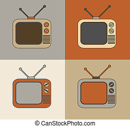 Retro TV set icons - Retro vintage colorful technology TV...