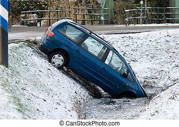 winter accident - accident with a car in winter weather