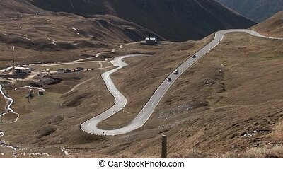 twisting road, Alps - video footage of the high alpine road...