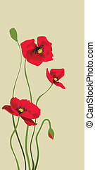 red stylized poppy - card design with stylized poppy