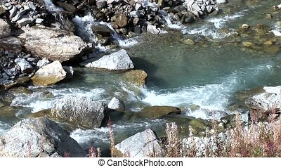 mountain river - video footage of a river in the Austriaa...