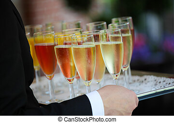 Colorful reception glasses - Tray of colorful glasses filled...