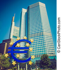 Retro look European Central Bank in Frankfurt - Vintage...