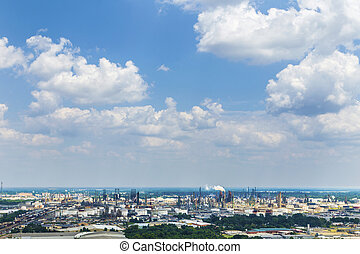 view from Baton Rouge to the oil refineries in direction La...
