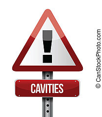 cavities road sign illustration design over a white...