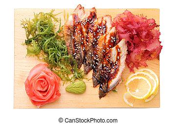 unagi, cima, vista, tabla,  sashimi