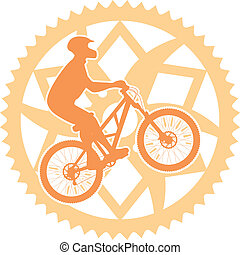 Biker chainring - Vector illustration of a biker silhouette...
