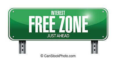interest free zone road sign illustration design over a...