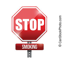 stop smoking road sign illustration design over a white...
