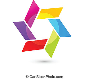 Abstract icon logo in vivid colors - Abstract icon vector in...