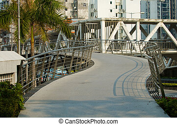 Overbridge in park - The view of curvy passage of an...