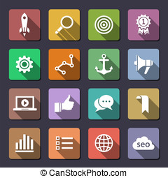Search engine optimization icon set - Search engine...