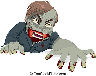 Zombie Man Crawling - Illustration of a man zombie with...