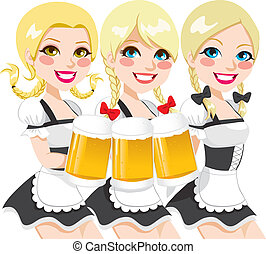 Oktoberfest Waitress Beer Toast - Three beautiful blonde...