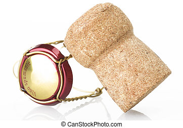 Champagne cork close up on the white