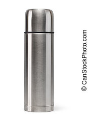 Thermos - Metal vacuum flask isolated on a white background